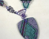 Beautiful Asymmetrical Polymer Clay Necklace with Unique Wire Work in Purple and Teal