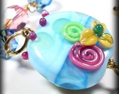Flower Jewelry Designs Flower Bracelet Lampwork Bracelet Lampwork Flowers Handmade Jewelry Pink Blue Crystal Bracelet Statement Bracelet
