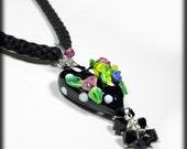 Black Heart Pendant Lampwork Flowers Kumihimo Necklace Lampwork Necklace Statement Necklace Handmade Lampwork Necklace Boho Bohemian Pendant