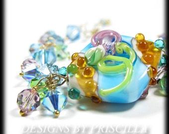 Artisan Turquoise Blue Lampwork Bracelet Crystal Cluster Gold Wire Wrapped Bracelet
