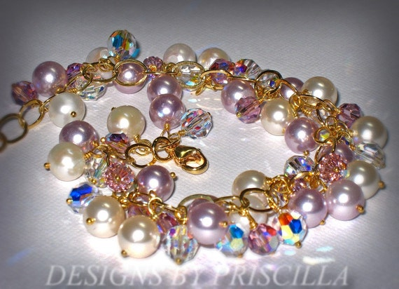 HALF OFF Pearls Pearls Pearls...Lilac & Cream pearls with sparkling crystals