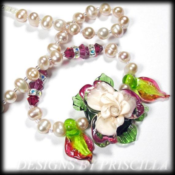 flower jewelry designs lampwork necklace beaded necklace pearl crystal necklace lamp work flowers statement flower jewelry pink bib necklace