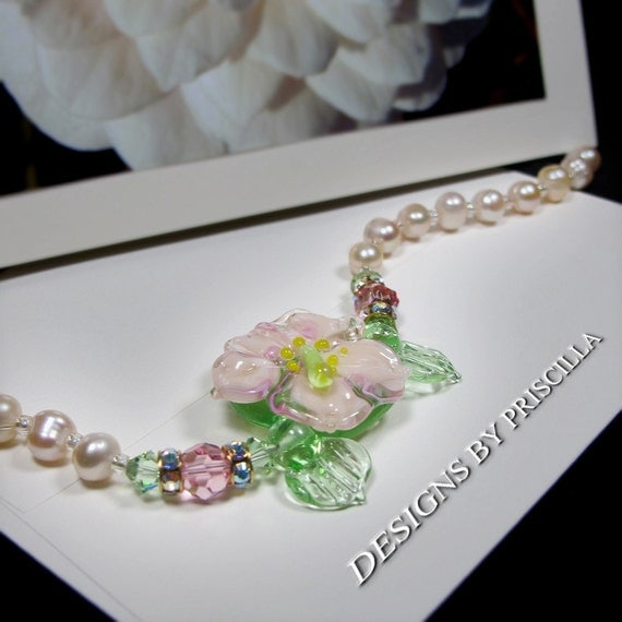 Bridal Statement Necklace Flower Necklace Pearl Crystal Jewelry Handmade Jewelry Designs  Lampwork Necklace Flower Necklace  ONE of a KIND