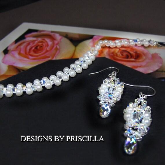 sale...lovely bridal swarovski crystals & pearls, bead woven bracelet earring set