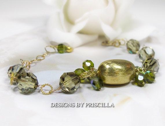 Olivine Green Swarovski Crystal Bracelet w/14k gold filled accents