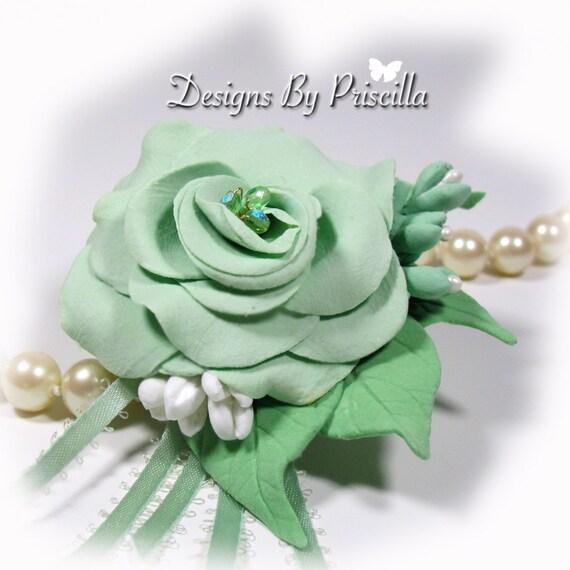 Bridal Mint Green Flower Jewelry - flower corsage brooch pin