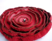 Luscious Red - Hand Dyed Genuine Recycled Leather Poppy Pin