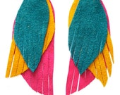 Long Leather Feather Earrings in peacock yellow, turqouise and hot pink - recycled