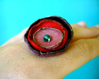 Recycled hand dyed genuine leather Poppy Ring - Cherry, plum and honeysuckle