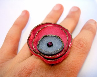 Recycled Leather Poppy Ring in Honeysuckle and Lavender