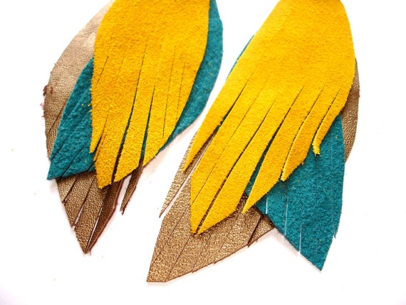Leather Feather Earrings in peacock yellow, turqouise and gold - recycled