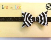 Baby Headband - Striped black and white baby bow headband with vintage fabric and glitter band