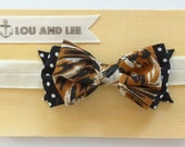 Baby bow headband - with vintage fabric and polkadot fabric