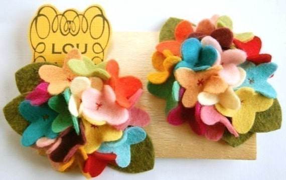 Carnival felt hydrangea clips with hand sewn centers