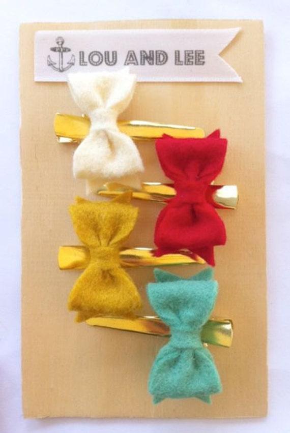 Felt Bow- Felt bow headband - Itty bitty bows with gold alligator clips
