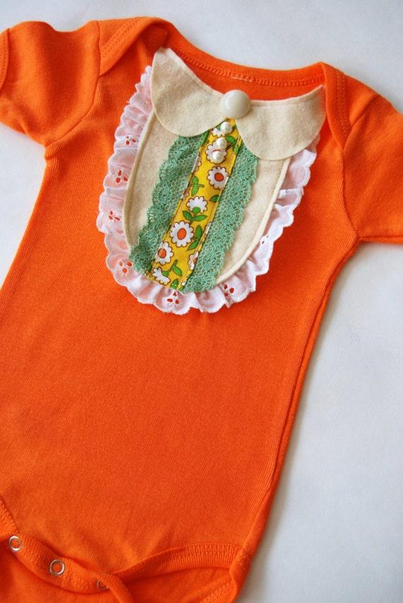 Mary orange onesie with felt