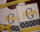 Custom Personalized Monogrammed Bib  Burp Cloth  Pacifier Clip  Gift Set LOTS of STYLES and COLORS