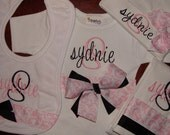 Personalized Monogrammed One Piece Creeper Bodysuit, Beanie Hat, Bib and Burp Cloth Gift Set LOTS of STYLES and COLORS Create Your Own