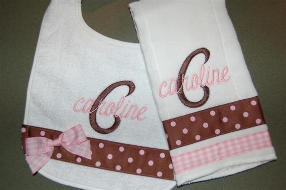 Personalized Bib and Burp cloth set BOY GIRL