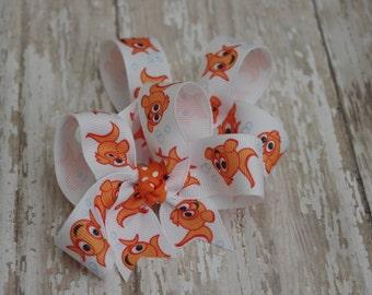 Baby Girl Hair Bows Goldfish Pigtail Set of 2 Hairbows Goldfish Girls Bows
