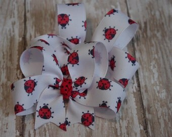Red Ladybug Hair Bows Lady Bug Boutique Pigtail Set of 2 Hairbows Ladybug Girls Bows Ladybug Toddler Bows