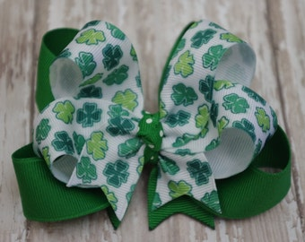 """Boutique Luck of the Irish Layered 4"""" Hair Bow Shamrock Green St. Patrick's Day St Patricks Day Bow"""