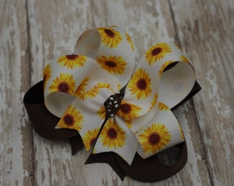 "Girls Hair Bow Sunflower Summer Boutique Layered 4"" Hairbow Yellow & Brown"