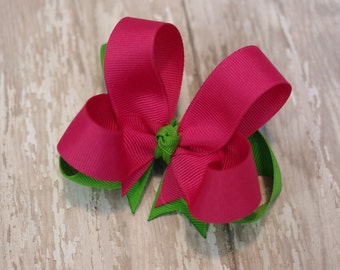 "4"" Shocking Pink & Apple Green Boutique Layered Hair Bow Pink and Green Hair Bow Pink and Green Bow"