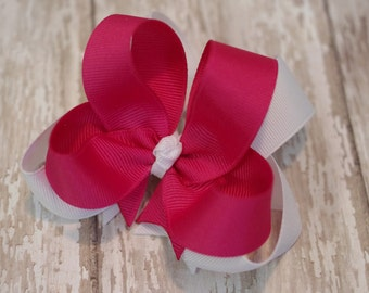 "4"" Shocking Pink & White Boutique Layered Hair Bow"
