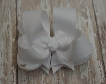 "Girls Hair Bow White Double Layered 4"" Boutique Hairbow"