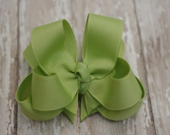 "Girls Hair Bow Lemongrass Green Double Layered 4"" Boutique Hairbow"