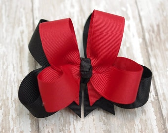 "Girls Hair Bow UGA Inspired Red & Black Double Layered 4"" Boutique Hairbow"