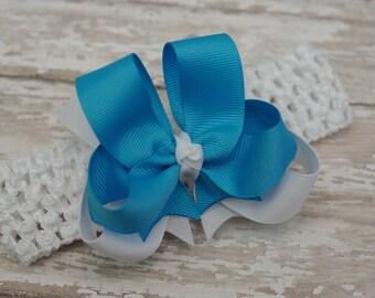 Baby Headband Turquoise and White Layered Infant Toddler Bowband