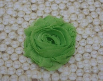 Lime Green Shabby Chic Frayed Chiffon Rosette Fabric Flower Hair Clip Clippie