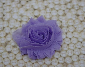 Chiffon Flower Hair Clip Lavender Frayed Shabby Chic Rosette Fabric Flower Clippie