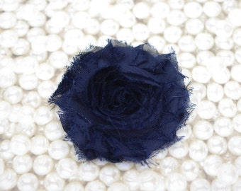 Chiffon Flower Hair Clip Navy Frayed Shabby Chic Rosette Fabric Flower Clippie