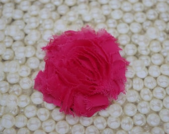 Chiffon Flower Hair Clip Hot Pink Frayed Shabby Chic Rosette Fabric Flower Clippie