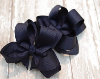 """Girls Hair Bows Navy Boutique 3"""" Double Layer Hairbows Set of 2 Pigtail Bows Navy Pigtail Bows Navy Hair Bows"""