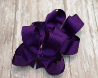 "Girls Hair Bows Purple Boutique 3"" Double Layer Hairbows Set of 2 Pigtail Bows"
