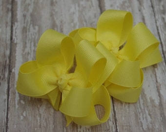 "Girls Hair Bows Yellow Boutique 3"" Double Layer Hairbows Set of 2 Pigtail Bows"