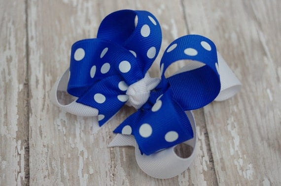 """10% OFF SALE~Hair Bow Boutique Electric Blue & White Layered Polkadot 4"""" Hairbow"""
