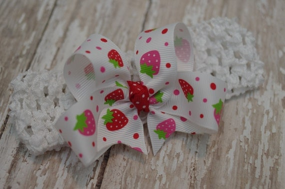 15% OFF SALE~Infant Strawberry Headband Boutique Baby Toddler Bowband Red & Hot Pink