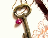 Rubies and Keys necklace