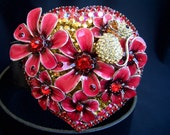 BUTTERFLY BUCKLE swarovski crystal heart mouse flowers plus leather belt