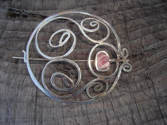 Inca Rose - Handcrafted Metal Scarf Pin or Shawl Pin with Amethyst Stone - FREE SHIPPING