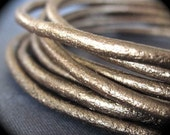 2mm Shimmering Bronze Genuine Round Leather Cord - genuine - for jewelry making purposes - 4 feet