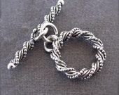 Princess of the Sea - Oxidized Spiral Sterling Silver Toggle Clasp - Medium Sized - 12mm