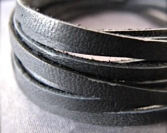 4 ft. of Black Deerskin Jewelry Grade Leather Lace 1/8 inch width - 3mm