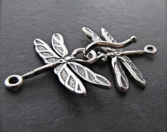 Dragonfly hook and eye clasp in sterling silver - Easy Closure - 38mm X 21.5mm when closed