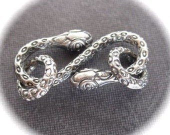 Sterling SIlver Plated over White Bronze Snake Charmer hook and eye clasp  - 22mm X 10mm